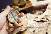 Compass in hand — Stock Photo