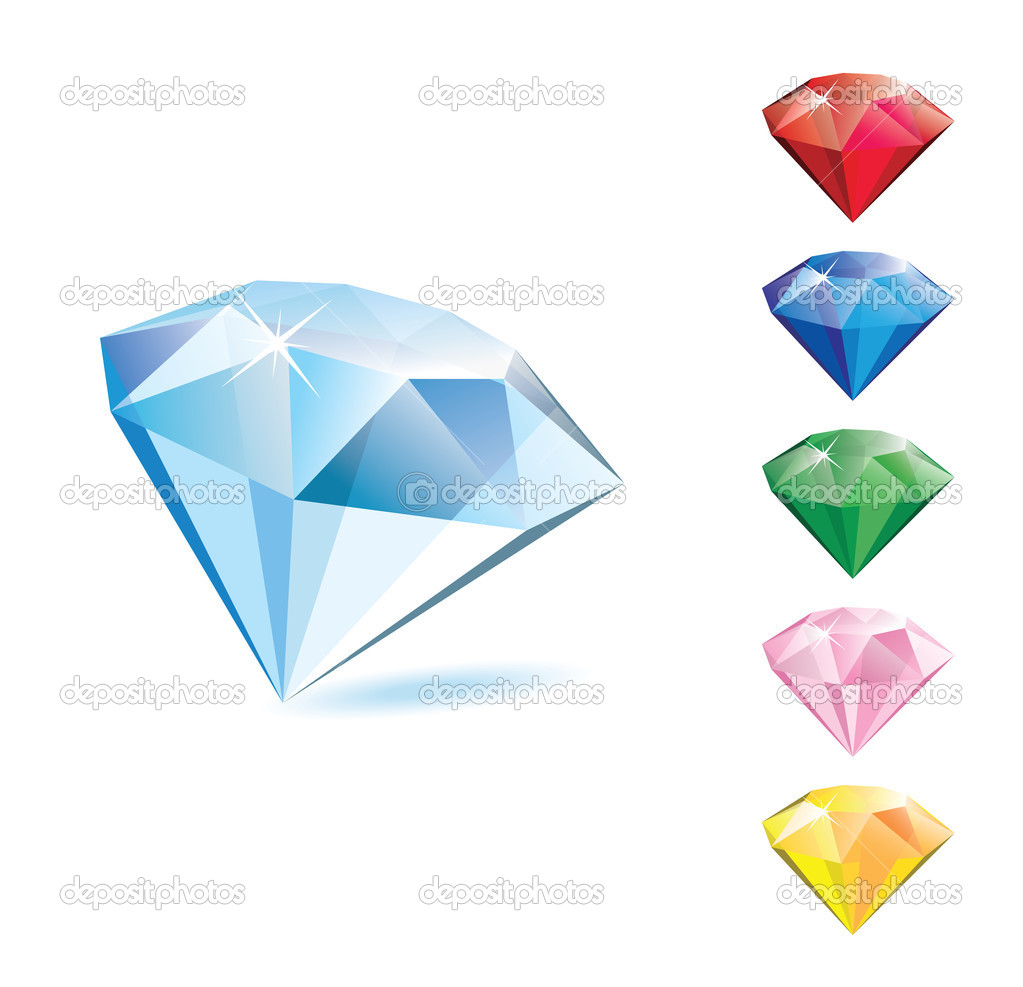 Glass, shiny, transparent multicolor diamonds. Vector illustration — Stock Vector #1460311