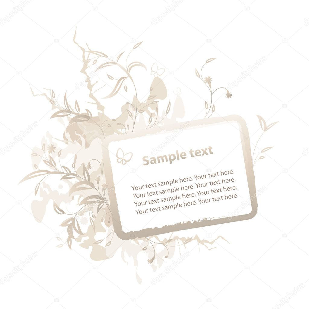 Horizontal golden floral frame with grunge elements — Stock Vector #1467168