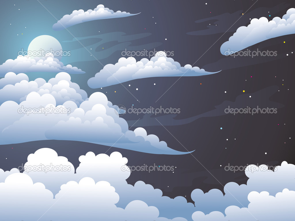 Beauty moonlight night. Silvery clouds in the dark star sky — Stock Vector #1467236