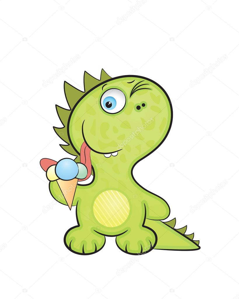 Cute cartoon style, the baby a dragon tries ice-cream  Stock Vector #1495181
