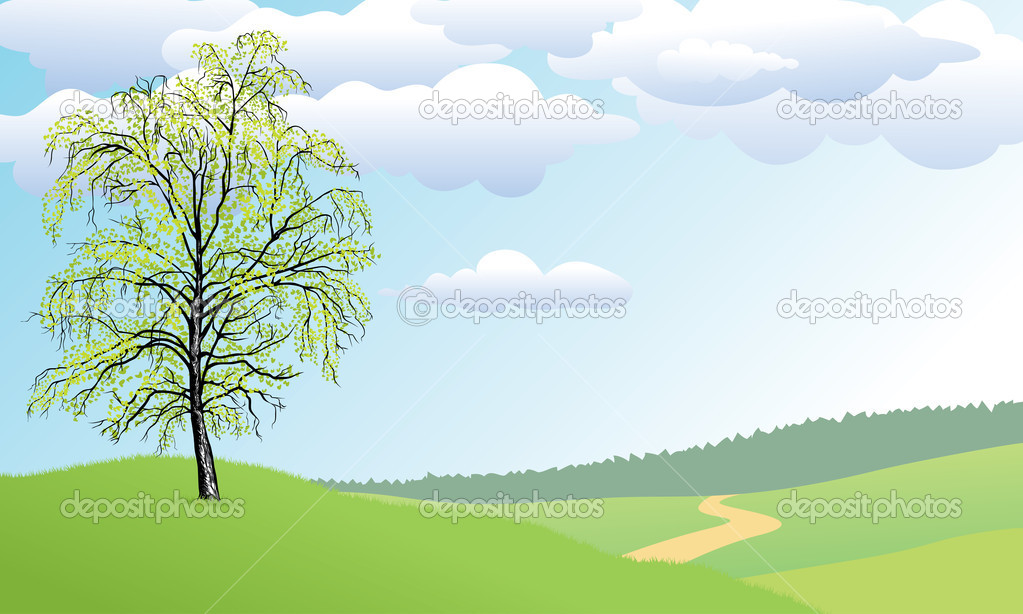 The lonely tree a birch costs on a green hill — Image vectorielle #1495300