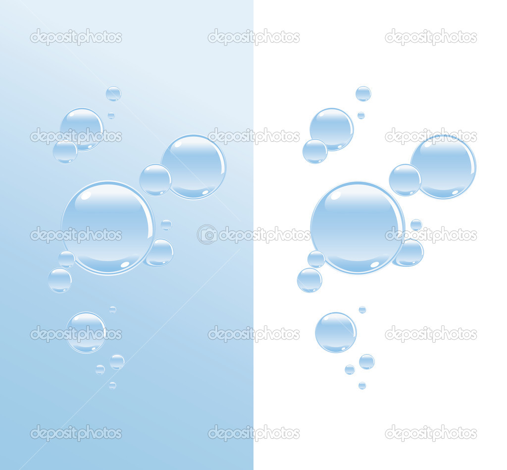 Transparent water bubbles on a two variations of background — Stock Vector #1503401