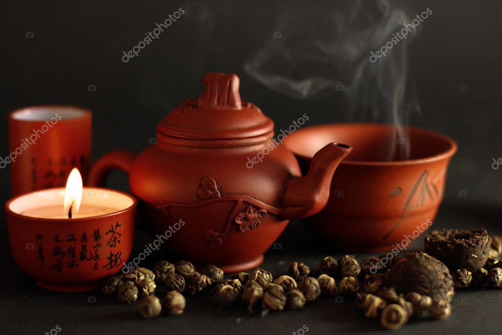 Set for the Chinese tea ceremony and different kinds of tea — Stock Photo #1461357