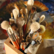 It is a lot of brushes for painting — 图库照片