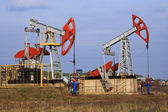 Two Oil pumps extract oil — Stock Photo