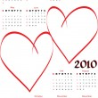 Stock Vector: 2010 calendar with blank hearts
