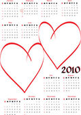 Calendario 2010 con corazones en blanco — Vector de stock