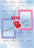 2010 calendar with blank frames — Stock Vector