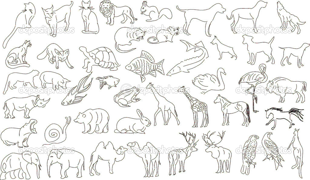 Set of vector animals, rough outlines  Stock Vector #1467071