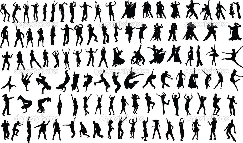 Lots of silhouettes of dancing . Vector — Stock Vector #1467083
