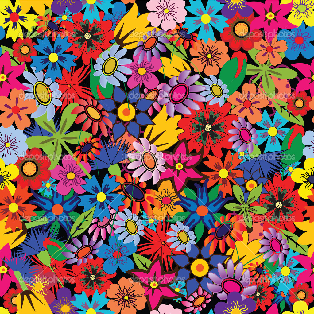 Seamless colorful floral background. Repeat many times — Stock Vector #1467097