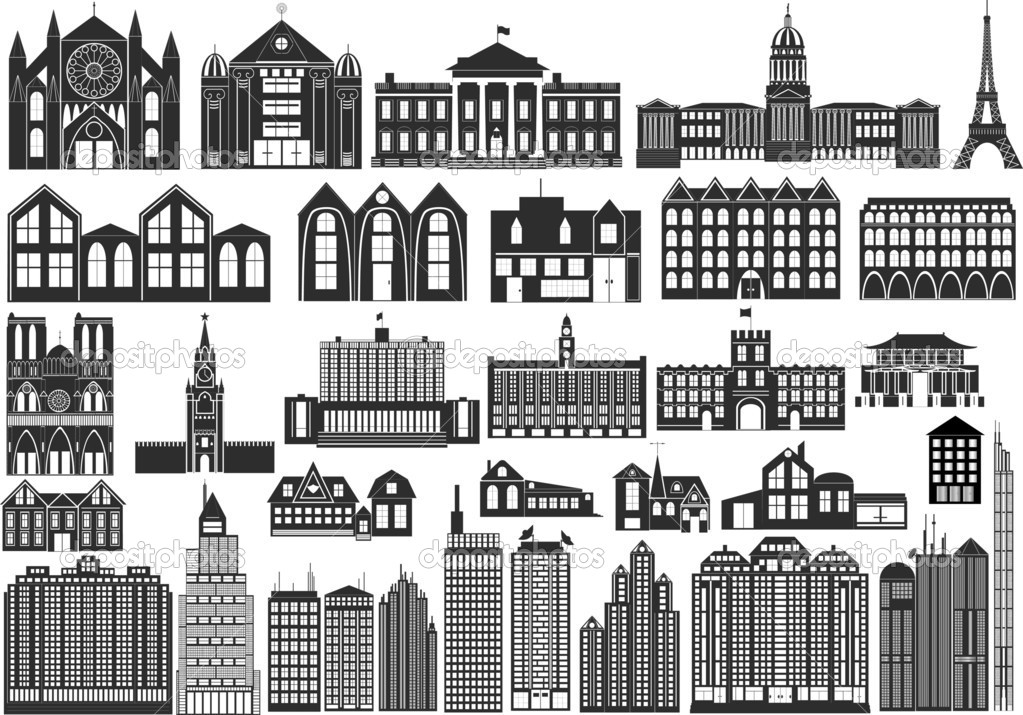 Set of black symbols of buildings, including famous — Stock Vector #1821663
