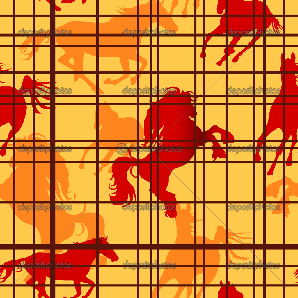 Seamless pattern with horses silhouettes and cells. Vector illustration — Stock Vector #2278945