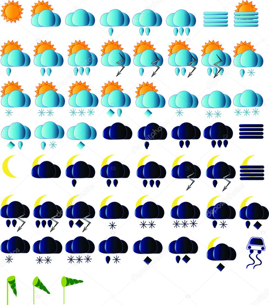 Weather icons for all seasons, day and night  Stock Vector #2279176
