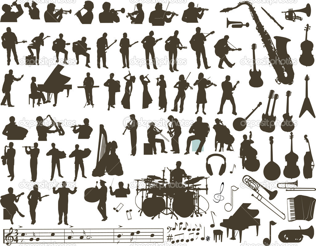 Vector silhouettes of musicians, music instruments and symbols  Stock Vector #2577405