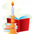 Stock Vector: Candle with books