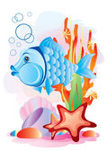 Fish in the sea — Stock Vector