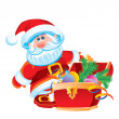Father Christmas and a chest with toys — Vector de stock