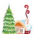 Christmas small house with a fur-tree — Stock Vector