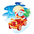 Father Christmas by the machine - Stock Vector