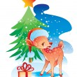 Christmas deer in a hat — Stock Vector
