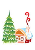 Christmas small house with a fur-tree — Vector de stock