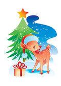 Рождество оленей в шляпе — Cтоковый вектор