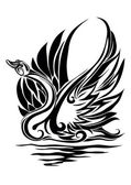 Silhouette of a swan — Vector de stock