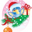 Birdy with a gift — Vector de stock