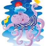 Cheerful octopus — Stock Vector