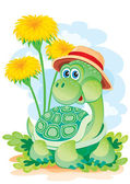 Turtle among colors — Stock Vector