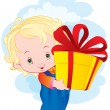 Stock Vector: Kid with gift