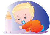 The kid with a bottle of milk — Stock Vector