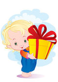 The kid with a gift — Stock Vector