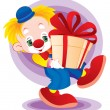 The clown with a gift — Stock Vector