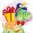 Stock Vector: Turtle with gift