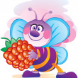 Stock Vector: Bee with berry