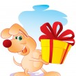 Dog with a gift - Stock Vector