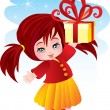 The girl with a gift - Stock Vector