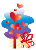 Gift with hearts — Stock Vector