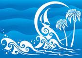 The dark blue sea — Stock Vector