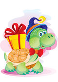 Turtle with a gift — Stock Vector