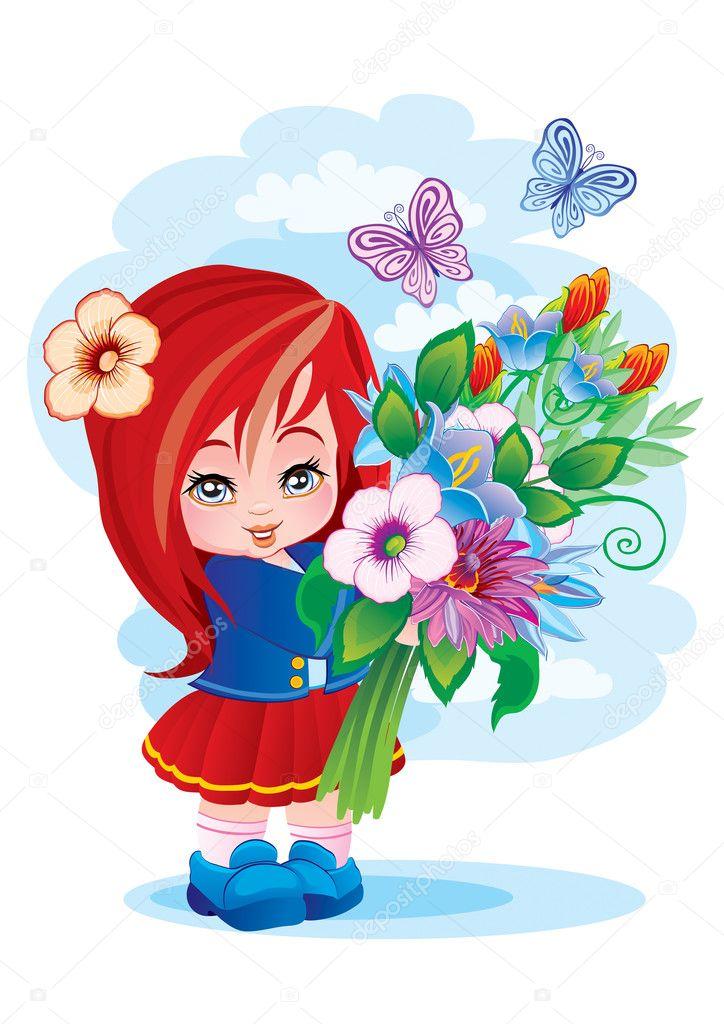 Картинка рисунок дети с цветами