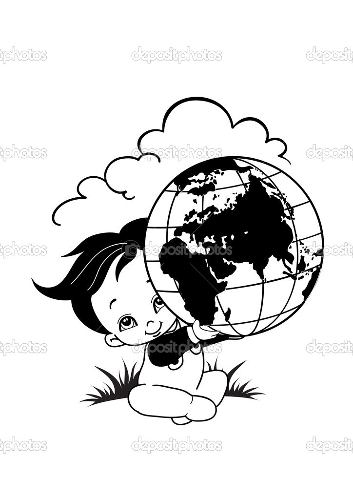 The child holds globe in hands — Stock Vector #1720870