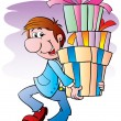 Royalty-Free Stock Vector Image: The man with gifts