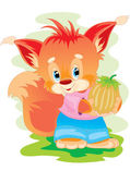 The fox with a nut — Stock Vector