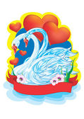 Dos cisnes — Vector de stock