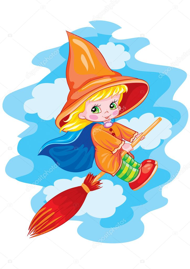 The small witch flies on broom  Stock Vector #1805316