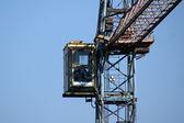 Tower crane cabin — Stock Photo
